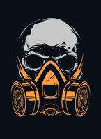 Crânio com respirador em fundo preto vetor