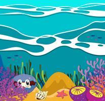 Animais marinhos sob o oceano vetor
