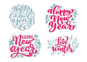 Conjunto feliz ano novo vetor texto caligráfico Lettering feliz Natal modelo de cartão de projeto. Tipografia criativa para o cartaz de presente de saudação de feriado. Faixa de estilo de fonte de caligrafia