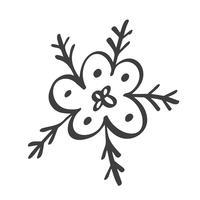 Sinal de flocos de neve escandinavo handdraw. Ilustração do vetor do elemento do projeto do inverno. Ícone de floco de neve preto isolado no fundo branco. Silhuetas de floco de neve. Símbolo da neve, férias, frio, geada