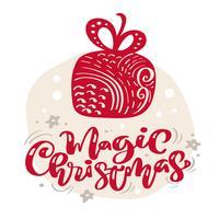 Estrela escandinava tirada mão da ilustração. Texto de rotulação de vetor de Natal mágico letras. cartão de natal. Objetos isolados