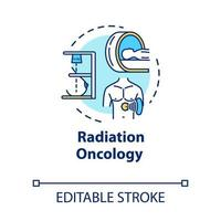 ícone do conceito de oncologia de radiação. diagnóstico e tratamento do câncer. terapia do tumor. ilustração de linha fina de ideia de radioterapia. desenho de cor rgb de contorno isolado de vetor. curso editável vetor