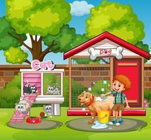 Casas de animais no jardim