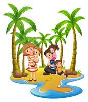 Viagem em família para a praia vetor