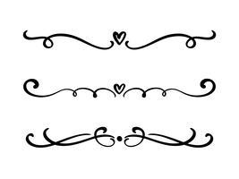 Vector vintage linha divisores de valentine elegante e separadores, redemoinhos e cantos ornamentos decorativos. Linhas florais filigrana design elementos do coração. Flourish curl elementos para convite ou ilustração de página de menu