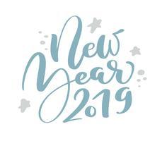 Ano novo 2019 azul Natal vintage caligrafia letras vector texto com elementos de desenho escandinavo de inverno. Para design de arte, estilo de brochura de maquete, capa de ideia de banner
