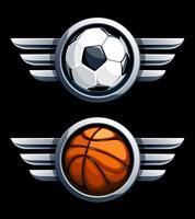 Basquete e bola de futebol