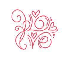 Amor da palavra da caligrafia do monoline do vetor. Letras de mão desenhada dia dos namorados. Cartão do projeto do doodle do esboço do feriado com frame do coração. Decoração de ilustração isolada para web, casamento e impressão
