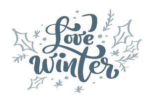Ame o texto azul do vetor da rotulação da caligrafia do vintage do Natal do inverno com o inverno que tira a decoração escandinava. Para design de arte, estilo de brochura de maquete, capa de ideia de bandeira, folheto de impressão de livreto, cartaz