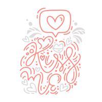 A frase da caligrafia do monoline do vetor beija-me com o logotipo do Valentim. Dia dos namorados mão desenhada letras. Cartão do projeto da garatuja do esboço do feriado do coração. Decoração de ilustração isolada para web, casamento e impressão