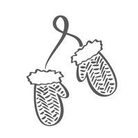 Ícone de vetor de luvas de contorno escandinavo de inverno. Ilustração de linha de escova. Luvas para crianças. Símbolo de contorno. Desenho de contorno isolado de vetor