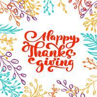 Texto de caligrafia feliz Ação de Graças