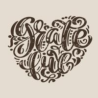 Hand drawn Grato cartaz de tipografia feliz dia de ação de Graças. Cotação de rotulação de celebração para cartão postal, logotipo de ícone de evento. Caligrafia de vetor vintage em forma de um coração