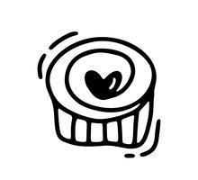 Muffin Monoline bonito com coração. Vector dia dos namorados mão desenhada ícone. Valentim do elemento do projeto da garatuja do esboço do feriado. decoração de amor para web, casamento e impressão. Ilustração isolada