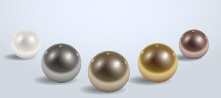 Composição de diferentes esferas de metal ou plástico vetor