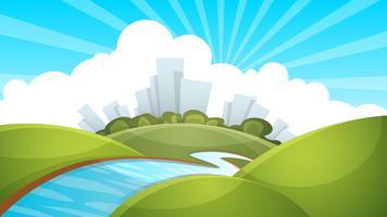 Paisagem, cidade, rio, nuvem, sol. vetor
