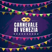 Carnevale Di Venezia tipográfico Vector Design com máscara de carnaval símbolo elemento fundo