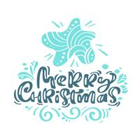 Feliz Natal caligrafia letras de texto. Cartão escandinavo do Xmas com a estrela tirada mão da ilustração do vetor. Objetos isolados vetor