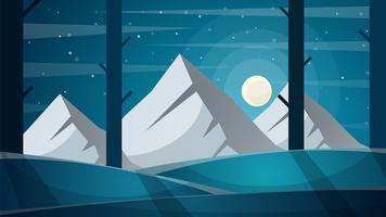 Viagem noite paisagem dos desenhos animados. Árvore, montanha, cometa, estrela, moo