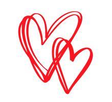 Casal vermelho vetor dia dos namorados mão desenhada corações caligráficas. Elemento de Design de férias. Decoração de amor de ícone para web, casamento e impressão. Isolado, caligrafia, lettering, ilustração