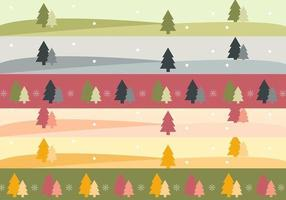 Árvore De Natal Paisagem Banner Vector Pack