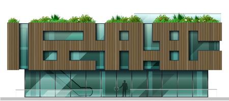 A fachada é um moderno centro comercial