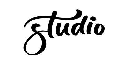 Mão de vetor desenhado rotulação palavra Studio