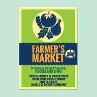 Modelo de convite de cartaz de panfleto de mercado do fazendeiro com legumes e frutas fundo