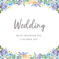 Aquarela floral com borda de quadro de texto, exuberante aquarelle flores pintados à mão isolado no fundo branco. Design de flores decoração para cartão, salvar a data, cartões de convite de casamento, cartaz, banner.