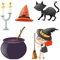 Halloween conjunto com bruxa e gato preto vetor