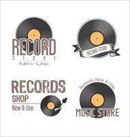 Loja de discos retrô vintage fundo vetor