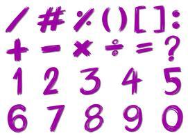 Números e sinais na cor roxa vetor