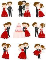 Casal de noivos em diferentes ações vetor