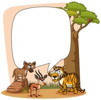 Modelo de quadro com animais selvagens vetor