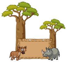 Modelo de banner com hiena e rinoceronte vetor