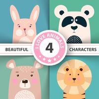 Conjunto de animais dos desenhos animados coelho, panda, urso, leão.