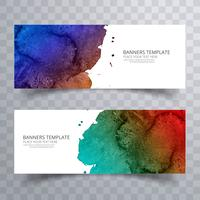 Cabeçalho de aquarela colorido suave lindo conjunto vector