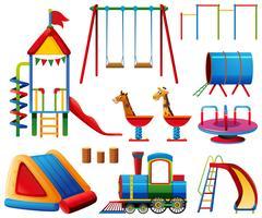 Estações de jogo diferentes no playground vetor