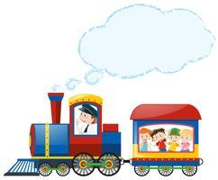 Crianças, montando, trem vetor