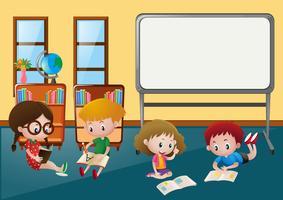 Crianças, aprendizagem, em, sala aula vetor