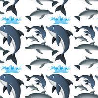 Fundo sem emenda com golfinhos felizes vetor