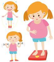 Mulher gorda na escala e mulher magra exercitando