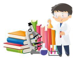 Cientista e equipamentos científicos vetor