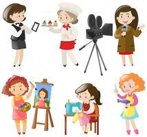 Mulheres fazendo diferentes tipos de trabalhos vetor
