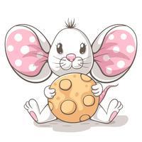 Personagens de desenhos animados de rato bonito, engraçado, minúsculo