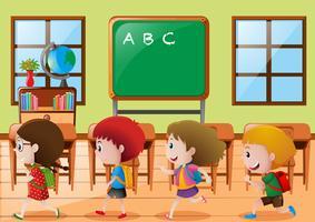 Crianças, andar, em, sala aula vetor