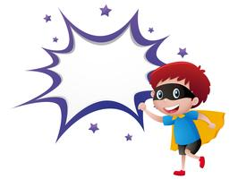 Modelo de respingo com menino em traje de herói vetor