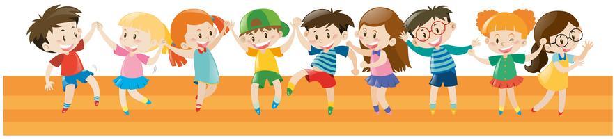 Meninos e meninas dançando juntos vetor