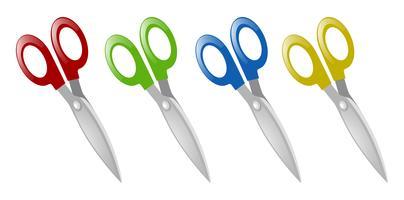 Pares de tesouras em quatro cores vetor