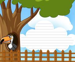 Papel de linha com pássaro tucano na árvore vetor